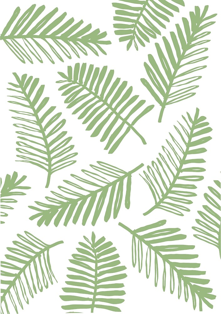 Minimal Green Palm Leaves Drawing by indigowave