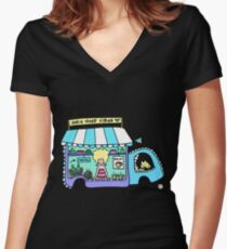 Happy Food Truck! Women's Fitted V-Neck T-Shirt