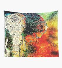 Elephant Mandala Blue Orange Yellow Green Wall Tapestry