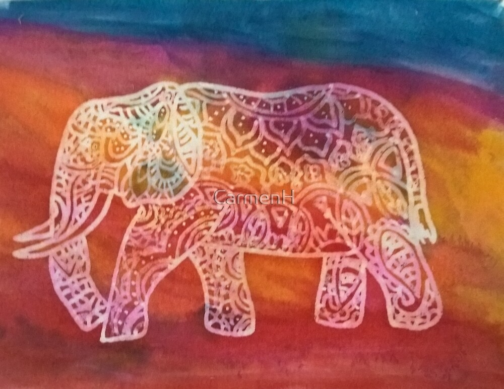Colourful Batik style elephant by CarmenH