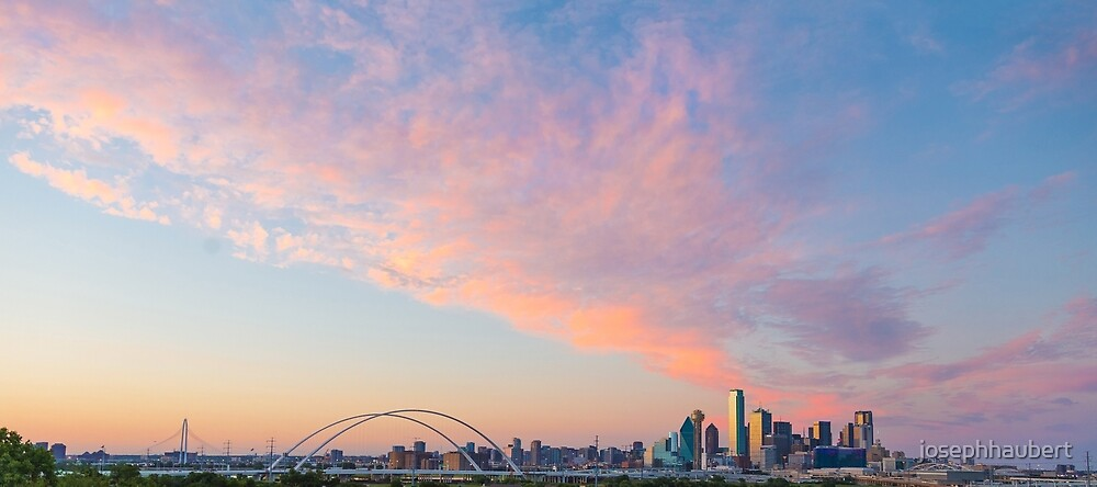 Fiery Pink Dallas Skyline by josephhaubert