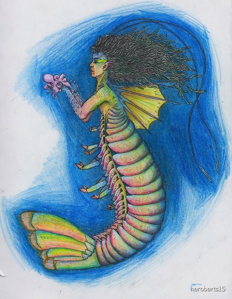 Rainbow lobster mermaid by Hope Roberts