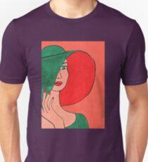 Lady wearing a green hat Unisex T-Shirt