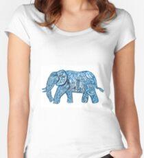 Blue ink elephant pattern Women's Fitted Scoop T-Shirt