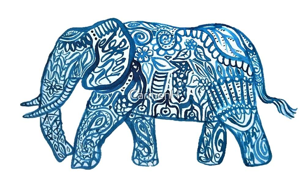 Blue ink elephant pattern by CarmenH