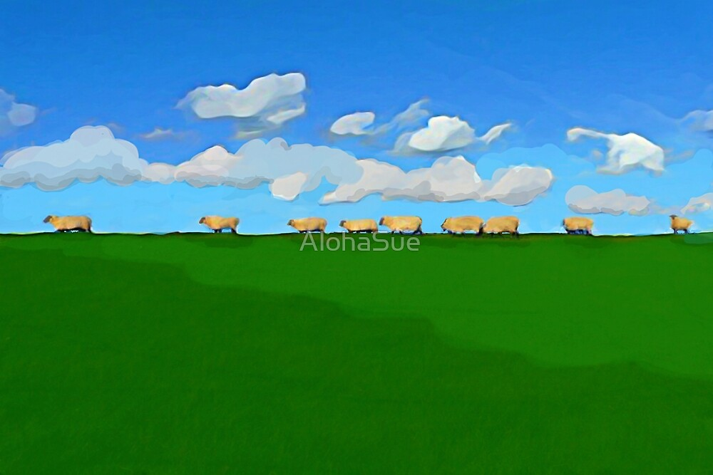 Sheep On A Hill by AlohaSue