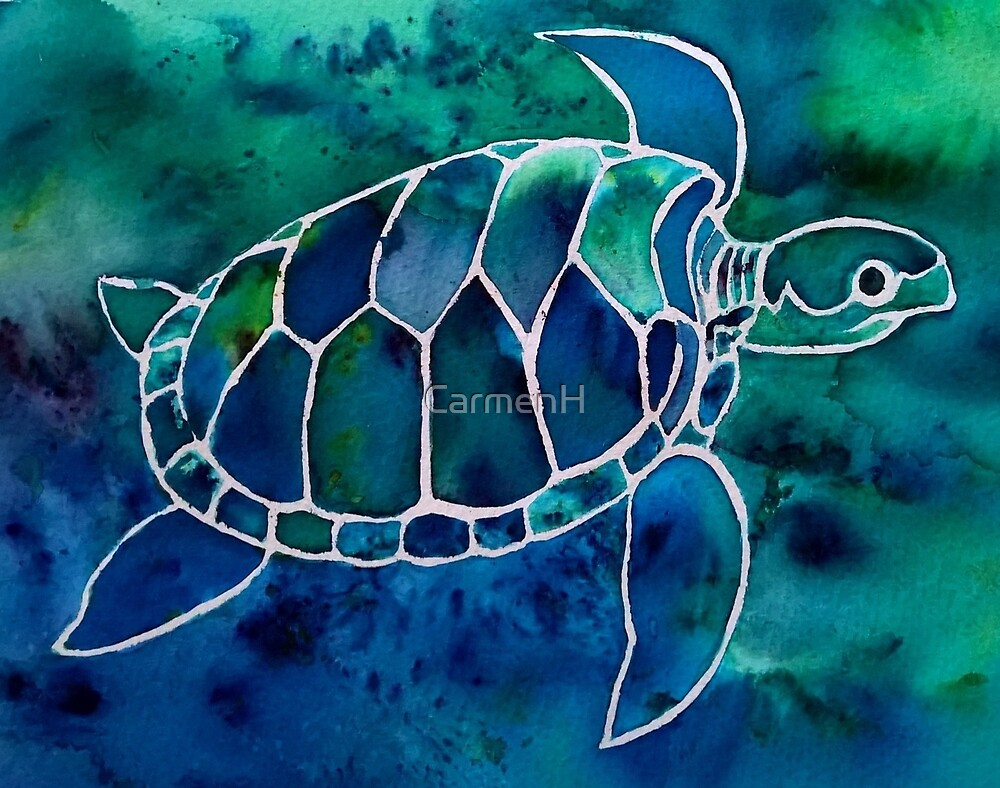 Swimming Sea Turtle, blues and greens by CarmenH