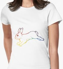 Rainbow Space Bunny Womens Fitted T-Shirt