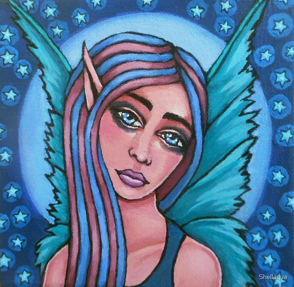 moonlight fairy painting 06/26/17 by Shellaqua