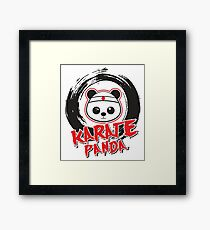 Karate Panda Circle Brush Framed Print