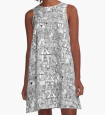 retro circus black white A-Line Dress