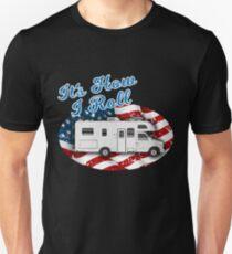 It's How I Roll Camping Camper RV Flag T Shirt Unisex T-Shirt