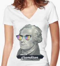 Alexander Hamilton in Shades Women's Fitted V-Neck T-Shirt