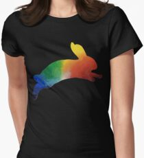 Rainbow Space Bunny 2 Womens Fitted T-Shirt