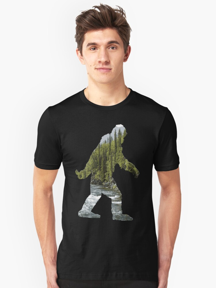 A Sasquatch Silhouette in The Wilderness Unisex T-Shirt Front