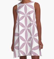 Lavender + White Flower of Life Pattern A-Line Dress