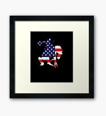 Patriotic Rodeo Bronco American Flag Framed Print