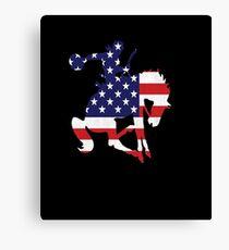 Patriotic Rodeo Bronco American Flag Canvas Print
