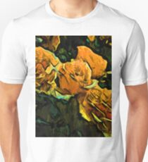 Gold Roses with Green Leaves Unisex T-Shirt