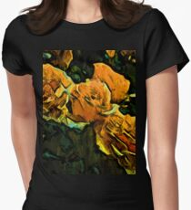 Gold Roses with Green Leaves Womens Fitted T-Shirt