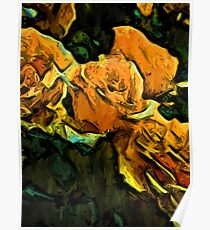 Gold Roses with Green Leaves Poster