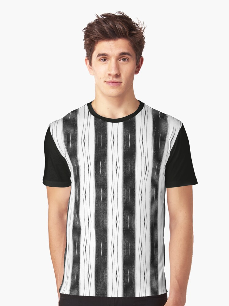 Distressed Stripe - Black & White Graphic T-Shirt Front