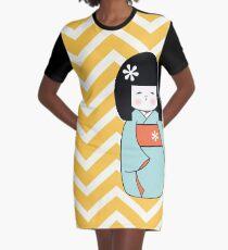 Blue Kokeshi on Chevron Pattern Graphic T-Shirt Dress