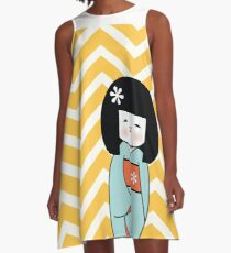 Blue Kokeshi on Chevron Pattern A-Line Dress