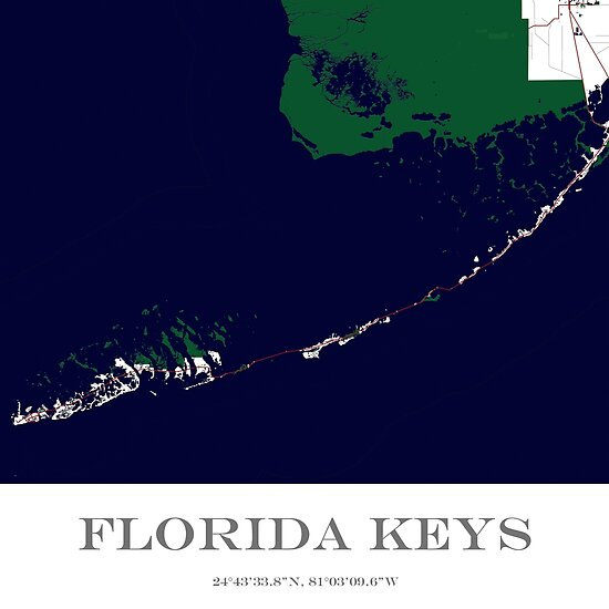 Map Florida Keys.Custom Map Of The Florida Keys Posters By Aocimages Redbubble