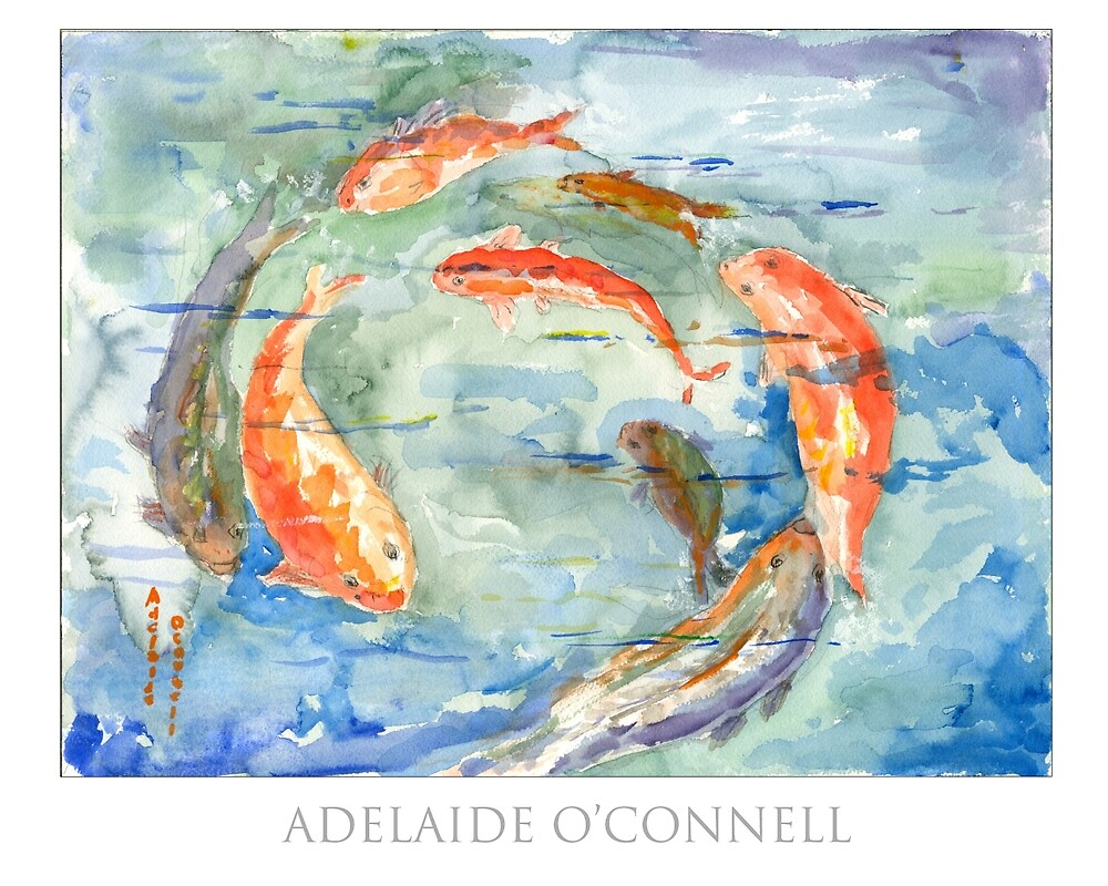 Circle Fish Water Color by aocimages