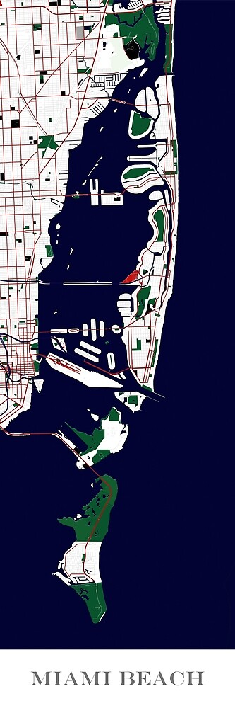 Custom Map Print of Miami Beach by aocimages
