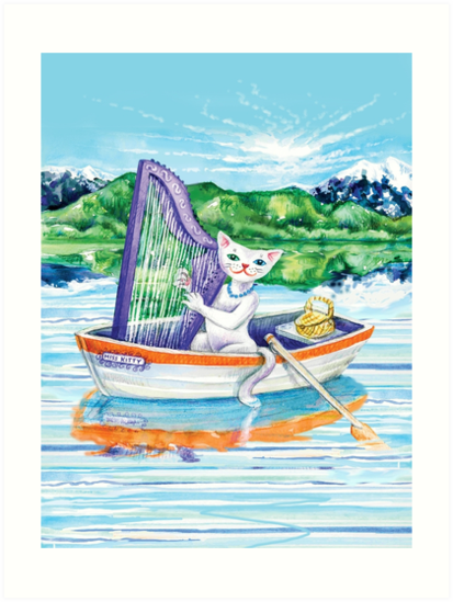 Miss Kitty Cat Plays Harp on a Lake by MissMusica