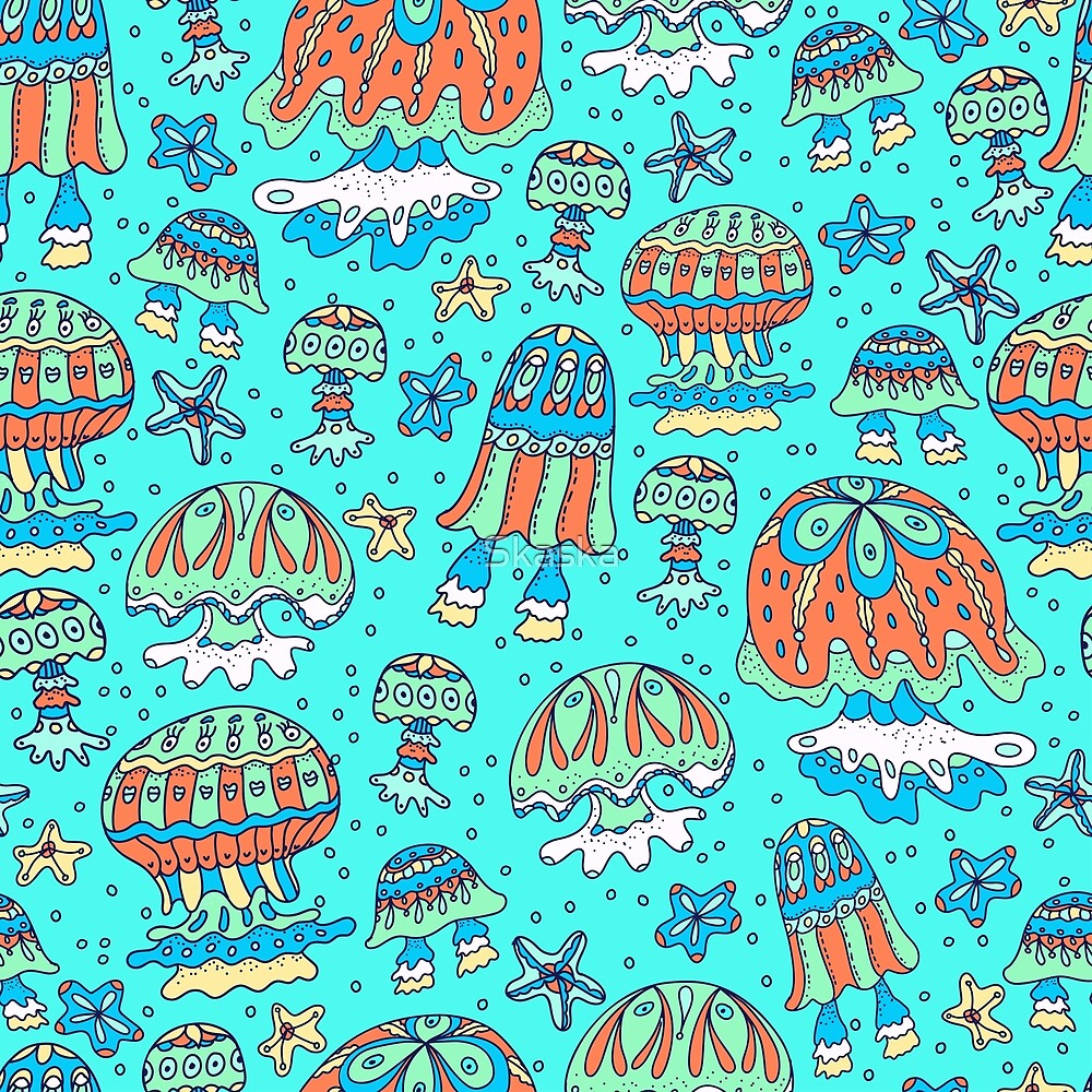 A pattern of fancy bizarre sea creatures.  Jellyfish, starfish. Style Doodle. Vector illustration. by Skaska