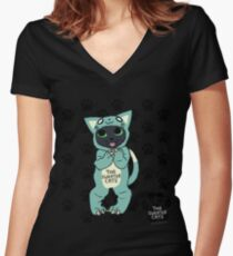 thesweatercats - Cat Onesie Lincoln Women's Fitted V-Neck T-Shirt