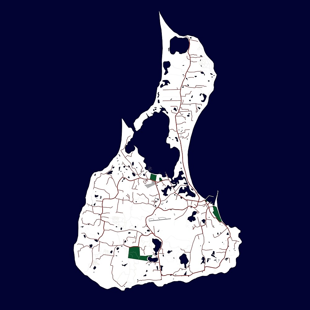 Custom Map Print of Block Island by aocimages