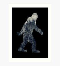 A Sasquatch Silhouette in The North Art Print
