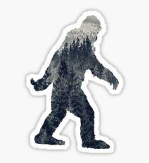 Eine Sasquatch-Silhouette im Norden Sticker