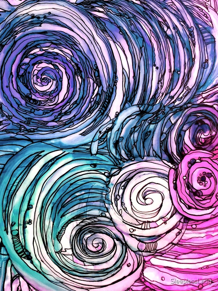 pen and ink, wild and free just like the sea-alcohol ink by SleeplessLady