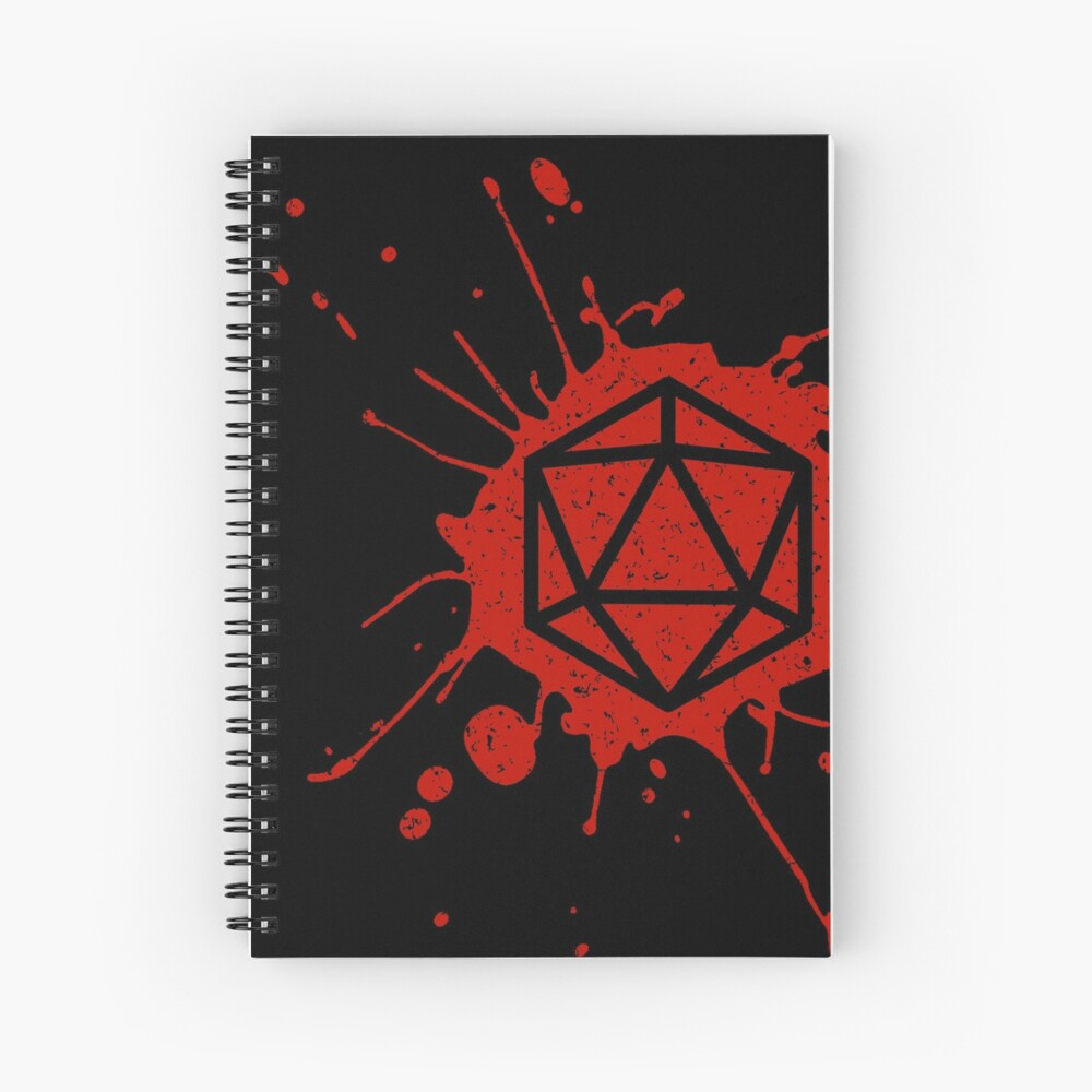 d20 Splatter Spiral Notebook