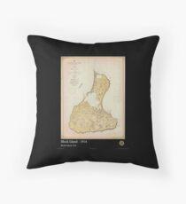 Vintage Print Image of Block Island - 1914 Throw Pillow