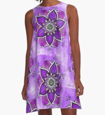 Purple mandala painting, mandala wall art, yoga gift  A-Line Dress