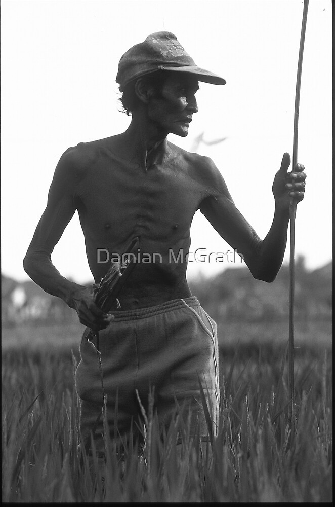 Man Watching Rice Fields Portrait 2 by Damian McGrath