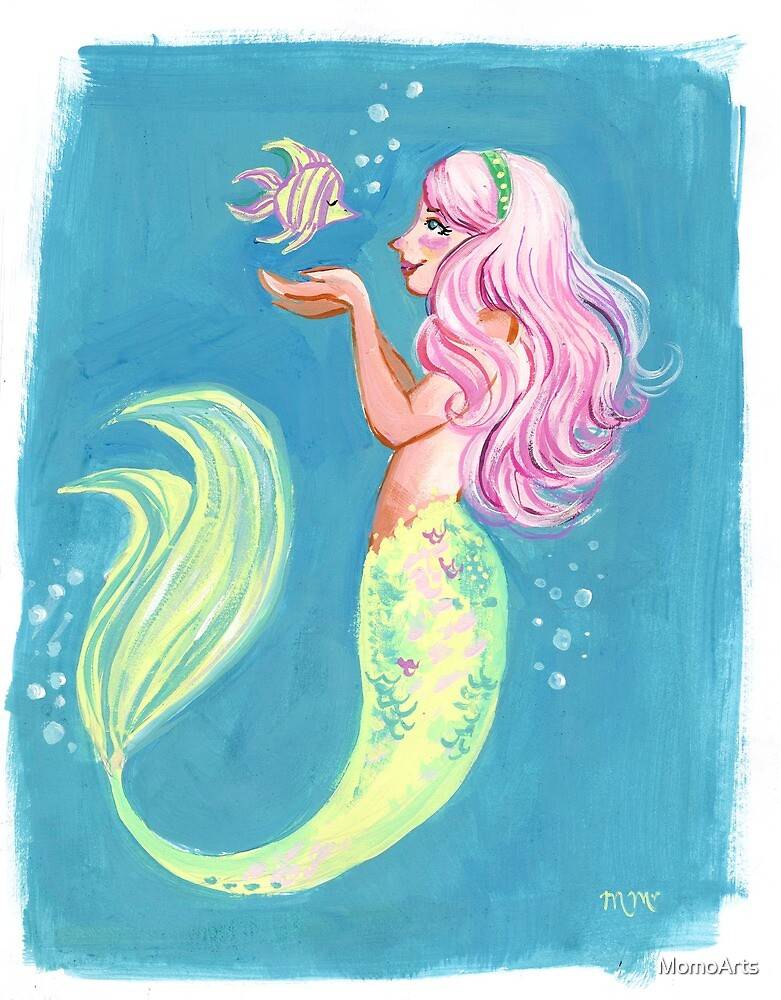 Pink Haired Mermaid by Maureen McAfee