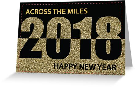 Across the Miles 2018 Happy New Year, Gold Glitter-Look and Black by SandraRose