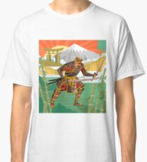 samurai warrior with katana blades walking in a bamboo forest near a river and japanese gate Classic T-Shirt