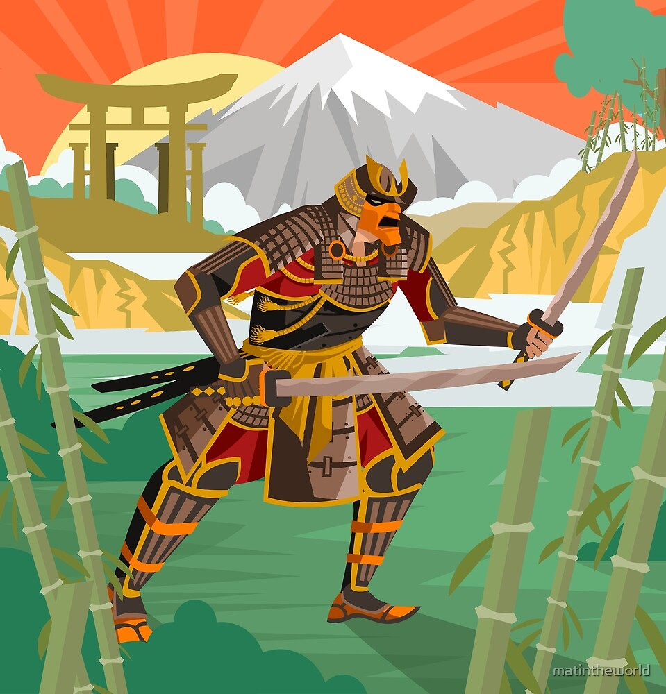 samurai warrior with katana blades walking in a bamboo forest near a river and japanese gate by matintheworld
