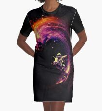 Space Surfing Graphic T-Shirt Dress