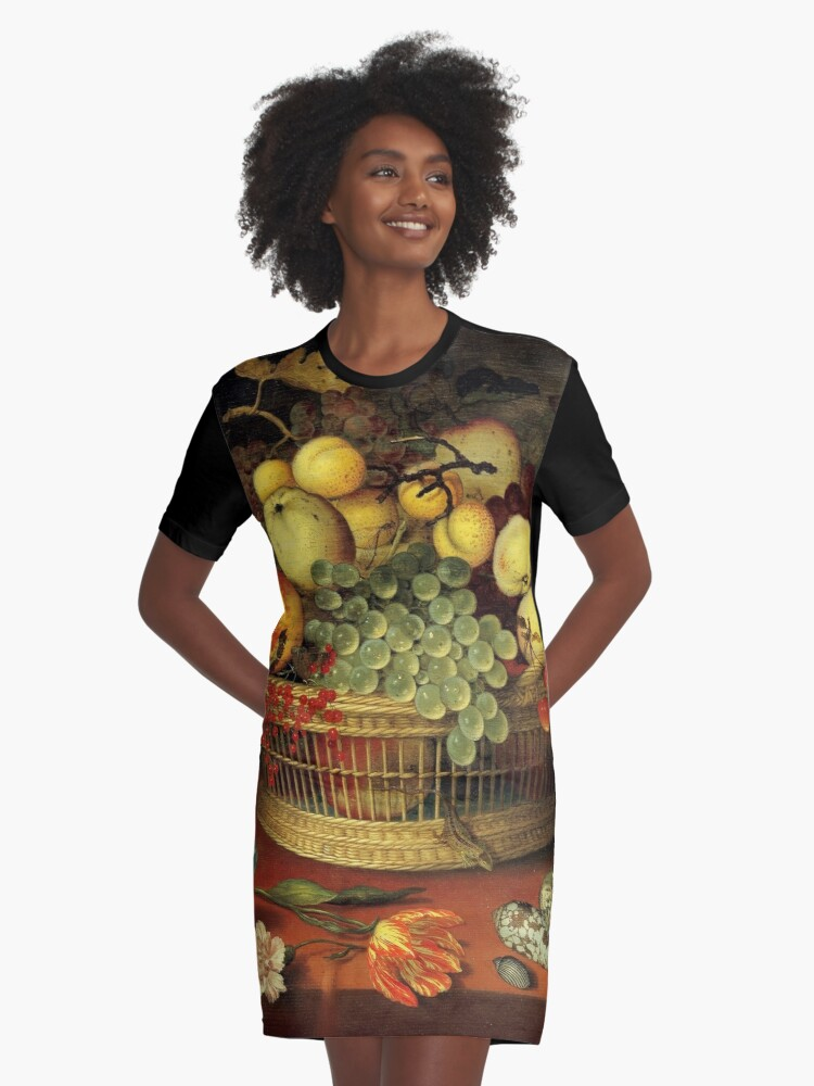 Still Life with Basket of Fruit Graphic T-Shirt Dress Front