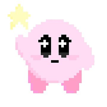 kawaii pixel art videogame kirby by kenmaru
