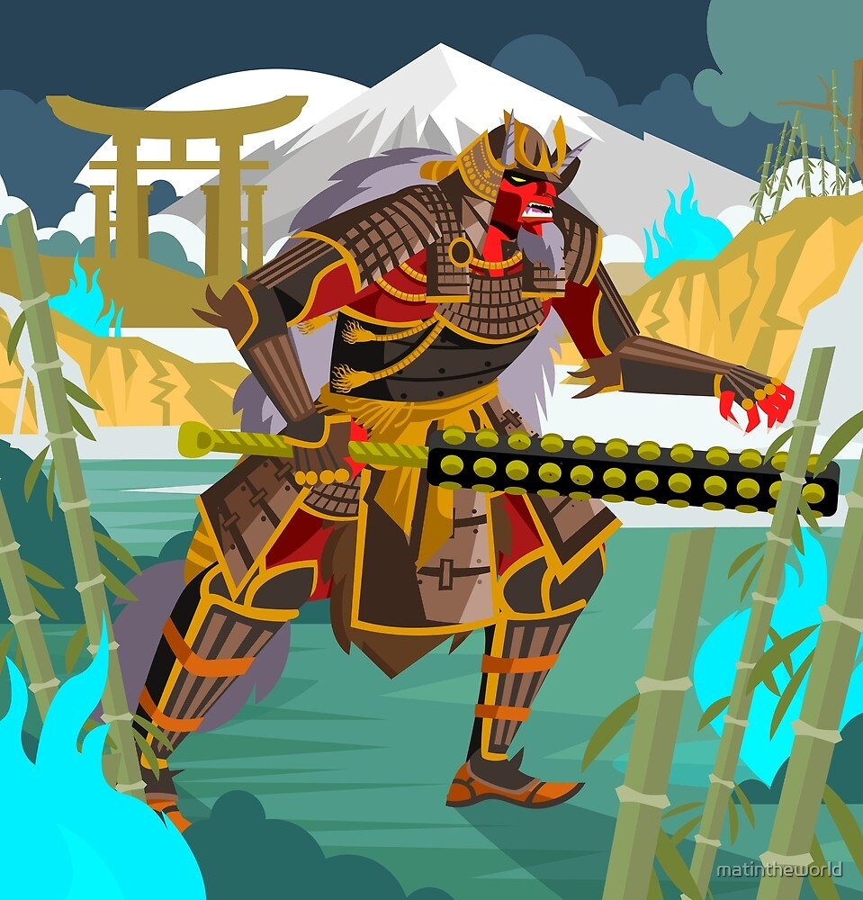 oni chinese japanese demon folklore troll with samurai armor in bamboo forest by matintheworld